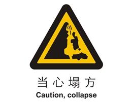 警示类标示 当心塌方